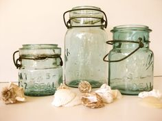 Vintage Jars 5x7 Photo Signed & Matted, Cottage Photography, Mason Jars, Old Jars, Atlas Jar, Aqua, Seashells, Beach Art, Shabby and Chic. $13.00, via Etsy.