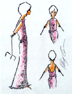 Sketch of the pink straw lace gown designed by Oleg Cassini and worn by Jacqueline Kennedy at the Elysee Palace reception in Paris, France, May 31, 1961.
