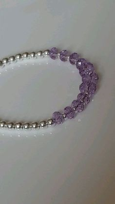 "Mavey Shimmer Bracelet "" Violet "" A stunning sterling silver adjustable bracelet featuring beautiful shimmering Swarovski® Crystals in colour: Violet Gorgeous violet and lilac shimmers *This bracelet will fit wrists inches to 8 inches* Crystal Bead Necklace, Diy Necklace, Crystal Bracelets, Necklace Designs, Beaded Earrings, Pink Bracelets, Diy Schmuck, Schmuck Design, Bead Jewellery"
