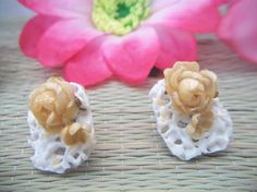 vintage handmade lacy floral screw back by ALEXLITTLETHINGS, $9.99