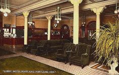 The elegant lobby is seen here on this postcard.