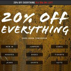 FLASH SALE 20% Off Everything At Topman ENDING TOMORROW - Gratisfaction UK Bargains #topman #fashion Womens Fashion Uk, Ladies Fashion, Men's Fashion, Uk Websites, Free Samples Uk, Freebies Uk, Everything Ends, Uk Deals, 20 Off