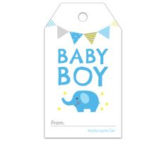 Download this Boy Baby Blue Elephant Gift Tag and other free printables from MyScrapNook.com