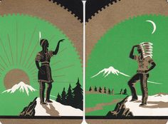 Vintage art deco indian and squaw playing cards. Had these in my trading card collection,as a kid.