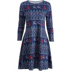 Christmas Elk Print Swing Dress ($17) ❤ liked on Polyvore featuring dresses, christmas print dresses, christmas dresses, pattern dress, blue pattern dress and christmas swing dress