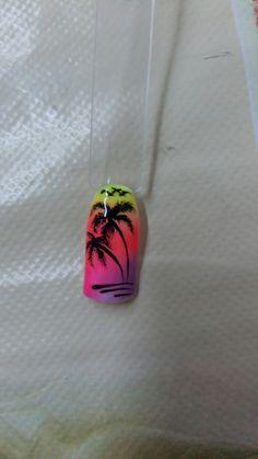 Beach Nail Designs, Nail Art Designs, Spring Nails, Summer Nails, Tropical Nail Art, Nailart, Palm Tree Nails, Nail Art Techniques, Seasonal Nails