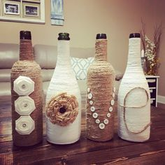 Twine LOVE Wine Bottles, upcycled wine bottles, country rustic wedding, wedding decor, wine bottle decor, centerpiece, farmhouse decor by PeavyPieces on Etsy https://www.etsy.com/listing/238182904/twine-love-wine-bottles-upcycled-wine
