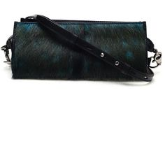 ALEXANDER WANG 'Pelican' Deer Hair Covered Leather Clutch ($635) ❤ liked on Polyvore featuring bags, handbags, clutches, blue, blue purse, trapeze handbag, alexander wang, leather handbags and real leather purses