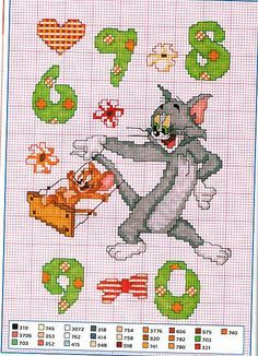 Alfabeto punto croce con Tom e Jerry Cross Stitch Numbers, Cross Stitch Letters, Cross Stitch For Kids, Cross Stitch Animals, Cross Stitch Charts, Tom Og Jerry, Loom Patterns, Stitch Patterns, Stitch Movie