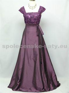 Fialové dlouhé šaty pro plnoštíhlé baculky boubelky hrubší ramínka 48-50