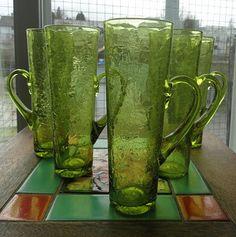 BLENKO Handblown Crackle Glass Chimney HI-BALLS with Handles - 3627 H - Set of 5. $125.00, via Etsy.