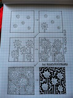 Shooter tangle Step by step zentangle Tangle Doodle, Tangle Art, Doodles Zentangles, Zen Doodle, Doodle Art, Doodle Patterns, Zentangle Patterns, Zen Art, Doodle Drawings
