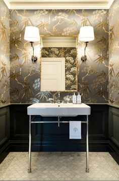 Fun with plastic bathroom tile - genius powder room design!Fun with plastic bathroom tile - genius powder room design! Bathroom design fun genius loris plastic 40 powder room ideas to Powder Room Wallpaper, Bathroom Wallpaper, Of Wallpaper, Wallpaper Ideas, Chinoiserie Wallpaper, Metallic Wallpaper, Wallpaper Patterns, Gracie Wallpaper, Bamboo Wallpaper