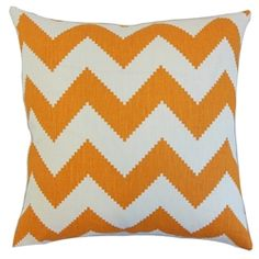 The Pillow Collection Maillol Zigzag Linen Throw Pillow Cover Color: Persimmon