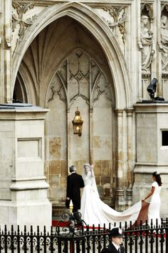 Kate on her wedding day. I love that we can see the architecture. Beautiful!