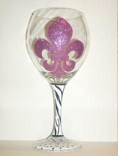 Hand Painted  Glitter Fleur de Lis Wine Glass by LiquidTherapy, $21.00