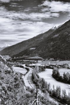 bwstock.photography  //  #highway #river #Inn #Tyrol Black White Photos, Black And White, Free Black, Documentary, Public, River, Mountains, Nature, Photography