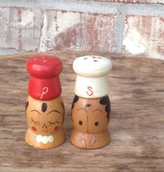 Vintage Japanese Small Wooden - Mr & Mrs - Salt and Pepper Shakers - Set / Pair - Kitsch / Retro Kitchen - Mid Century Collectibles / Décor    Heres
