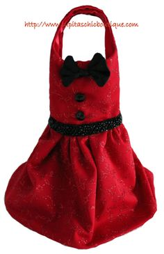 Holiday Dress for the Small Dog with Christmas Sparkle Red and Black Satin - Dog Dress. $57.00, via Etsy.