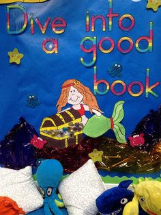 Reading area display, under the sea themed.