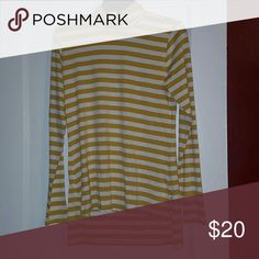 Hi-lo turtle neck Striped mustard and white turtle neck with a Hi-lo bottom.  Never worn with tags! The Limited Tops Tees - Long Sleeve