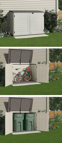 This small storage shed is just the right size to store your bicycles safely or to hide garbage cans. It won't take up a lot of room from your backyard or side yard or spoil the look of your home. #shedplans