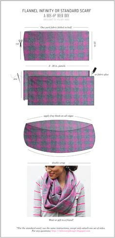 In Honor Of Design: His & Hers: DIY Flannel Scarves. I have old shirts and or blankets that are just going to waste... might have to play with this