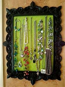 16 bedroom organizer ideas that you can do it yourself craft framed necklace holder fabric wrapped cork board in a frame solutioingenieria Images