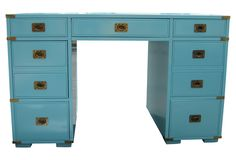 One Kings Lane - Midcentury Campaign style Desk blue #colorfurniture