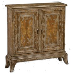 Beautifully crafted from plantation-grown mango wood, the striking Maguire Console Cabinet from Uttermost is hand-painted in warm oatmeal with a heavily distressed finish. Showcases a charming antique look and features 2 adjustable interior shelves.
