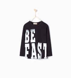 """Image 1 of """" BE FAST"""" print top from Zara"""