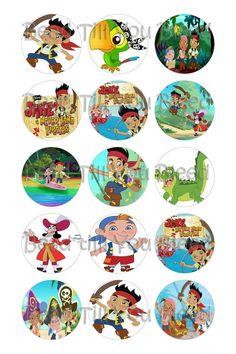 "Jake and the Neverland Pirates 1"" Circle Digital Collage Sheet"