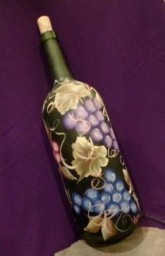 Hand Painted Lighted Wine Bottle by Hercio Dias