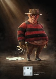 """The agency McCann Helth created a new ad campaign for Omron weight scale. With the concept """" Do not feed your fear of balance """" were chosen two characters to complete the campaign , Jason and Freddy Krueger . Freddy Krueger, Cartoon Faces, Cartoon Art, Cartoon Characters, Horror Icons, Horror Films, Creative Advertising, Print Advertising, Advertising Campaign"""