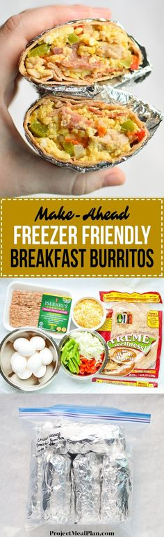 Make-Ahead Freezer Friendly Breakfast Burritos recipe - Method and tips for making your very own freezer friendly breakfast burritos! - http://ProjectMealPlan.com