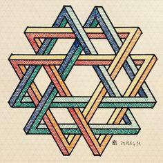 #impossible #isometric #penrosetriangle #Oscar_reutersward #symmetry #geometry… Geometric Quilt, Geometric Designs, Sacred Geometry Art, Sacred Art, Isometric Drawing, Rangoli Borders, Graph Paper Art, Small Drawings, Mc Escher