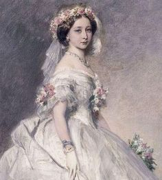 3rd child of  Queen Victoria (1819-1901) & Prince Albert (1819-1861) & Wife of Prince Louis IV of Hesse (1837-1892). Princess Alice Maud Mary of the UK (1843- 1878) in a bridesmaid dress for her sister By Franz Xaver Winterhalter In 1862.