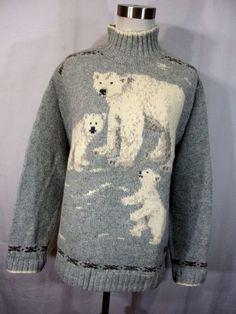 VTG Ralph Lauren L polar bear sweater Hand Knit gray mock turtleneck Wool l/s Y1 #RalphLauren #TurtleneckMock