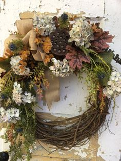 Fall Wreath for Front Door Blue Fall Wreath by FlowerPowerOhio