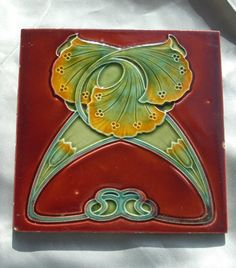 Art Nouveau Tile - no longer on eBay - I like the yellow to green transition in the glaze