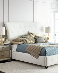 Patrizio+King+Leather+Bed+by+Bernhardt+at+Neiman+Marcus.
