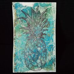 Free design of the week from Silhouette America - Pineapple  On my print #gelliarts
