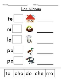Spanish syllables cut and paste - ending syllables free