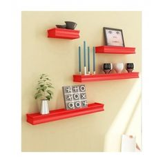 Desi Karigar Red Mango Wood & MDF Wall Shelves - Set of 4