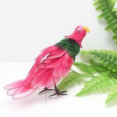Handmade nylon product, wires and Nylon, Magenta, Dark green, Bird, 1 Animal, 19cm x 7cm, (SW067)