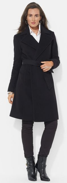 Lauren Ralph Lauren Wool Blend Wrap Coat (Online Only)  (In Winter White & Camel Too)