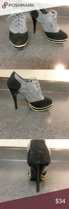 """👠School girl sexy high heeled bootie👠 👠Adorable sexy high heeled lace up bootie. These are hot! These are sexy! These are unique! 👠 Feel free to ask me any questions and happy poshing 👍  Size EUR: 39, USA: 9, heel hight approx: 4"""". These are pre-owned but still have a lot of life left in them. Please note: I had put my own shoe liners in and can not find the original liner for the left shoe (as shown in the fourth pic). This does not affect the shoe at all. Shoes Ankle Boots & Booties"""