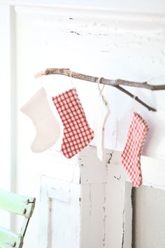 Petite Antique French Plaid Christmas Stockings