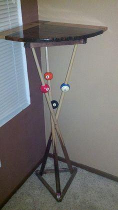 Bar table made from real pool sticks and racks