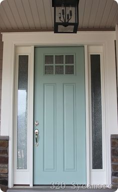 front door 320 sycamore -- color is Tidewater by Martha Stewart. I wonder if the HOA would approve this for the doors and shutters. Door Paint Colors, Front Door Colors, Favorite Paint Colors, Painted Front Doors, Decoration Inspiration, Exterior Paint, Exterior Door Colors, House Painting, House Colors